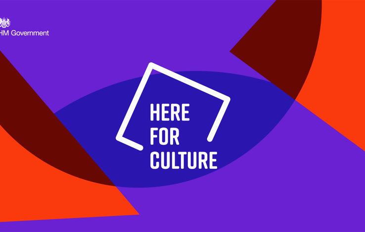 Graphic. Red background with two overlapping dark purple circles. In the centre is a logo which reads, Here For Culture.